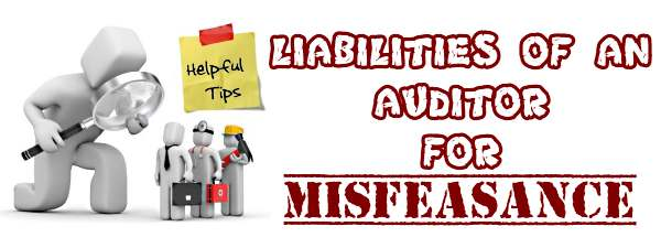 Liabilities of an auditor for Misfeasance
