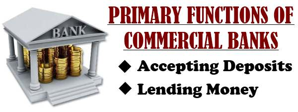 Primary functions of Commercial banks - Accepting deposits, Lending money