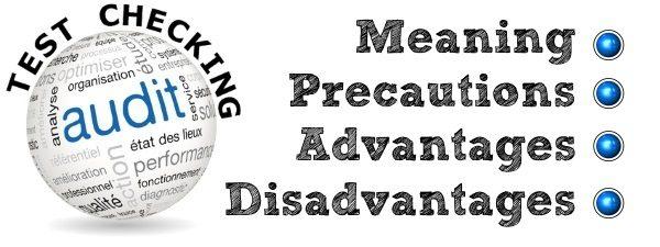 Audit Test Checking - Meaning, Precautions, Advantages, Disadvantages