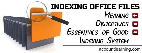 Indexing of Office Files - Meaning, Objectives, Essentials of Good Indexing System