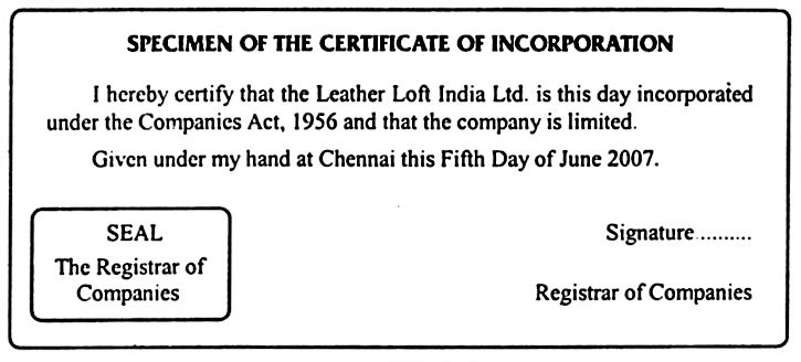 Specimen copy of Certificate of Incorporation