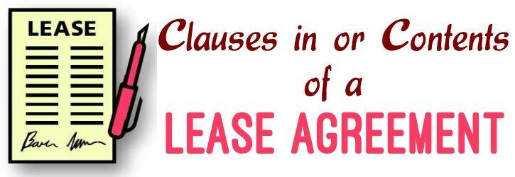 Clauses in or contents of a lease agreement